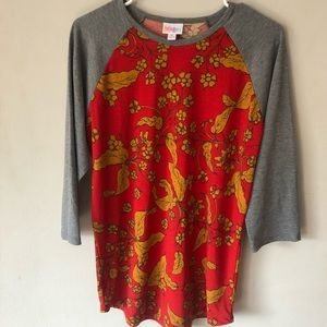 Lularoe Randy Grey sleeves red  yellow floral